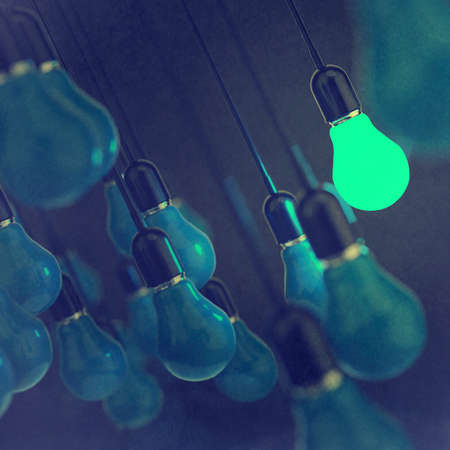 leadership abstract: creative idea and leadership concept light bulb as vintage style concept