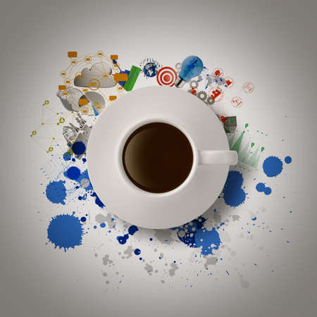 3d coffee cup on  business strategy diagram as concept photo