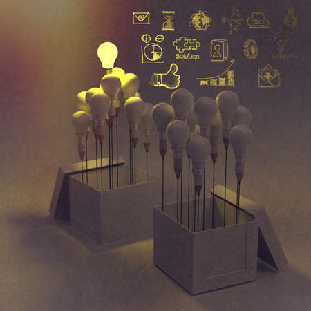 creative solutions: drawing idea pencil and light bulb concept outside the box as creative and leadership concept