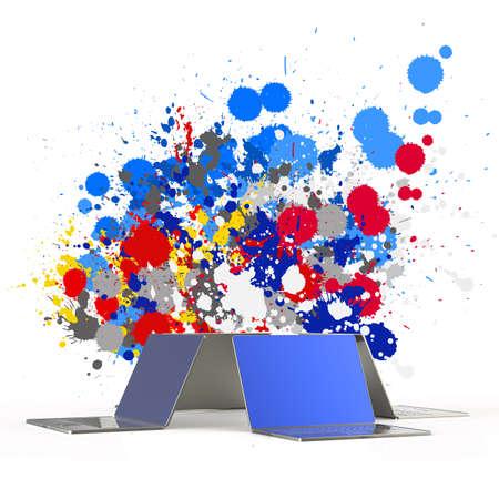 概念として色スプラッシュ背景を持つラップトップ コンピューター 写真素材