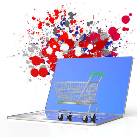 online shopping 3d on splash colors background as concept Stock Photo - 22006828