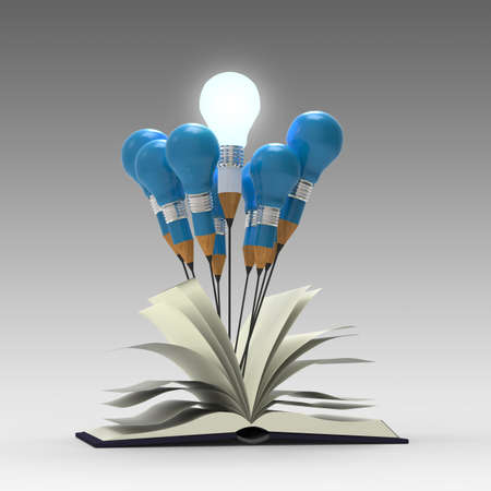 3d art: drawing idea pencil and light bulb concept outside the book as creative concept Stock Photo