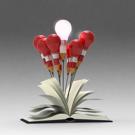 drawing idea pencil and light bulb concept outside the book as creative concept photo
