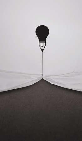 desarrollo econ�mico: trabajo muestran l�piz bombilla cuerda empate abren arrugado negro de la tarjeta en blanco como concepto Foto de archivo