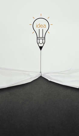 pencil lightbulb draw rope open wrinkled paper show blank black board as concept Stock Photo - 22007927