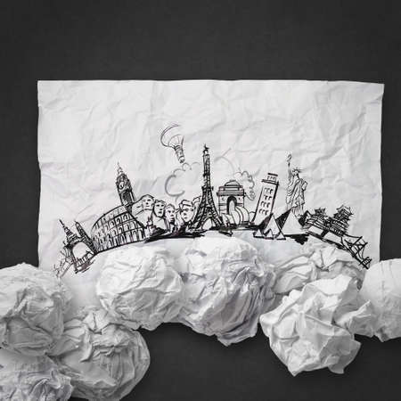 crumpled paper and traveling around the world as concept Stock Photo - 22006854