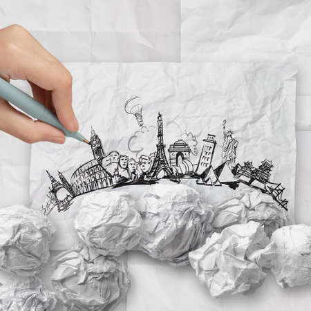 crumpled paper and traveling around the world as concept Stock Photo - 22006493