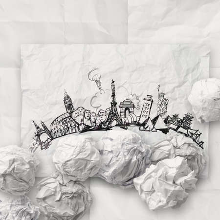 crumpled paper and traveling around the world as concept Stock Photo - 22006494