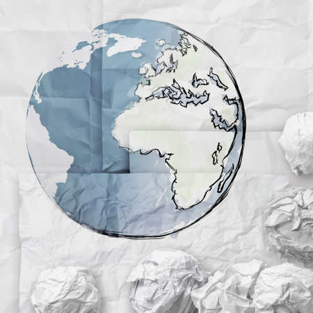 hand drawn crumpled world paper symbol as concept photo