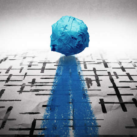 clearing the path: crumpled paper ball through sketch maze on wrinkled background as concept