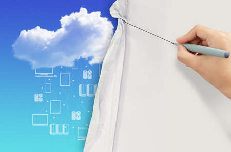 business hand draws rope open wrinkled paper show cloud networking as concept photo