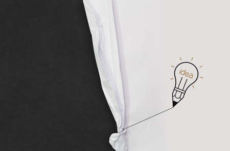 pencil lightbulb draw rope open wrinkled paper show blank black board as concept Stock Photo - 22006866