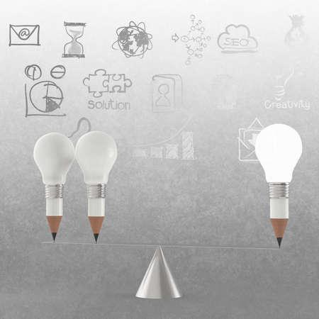 false balance of pencil lightbulb as vintage style concept photo
