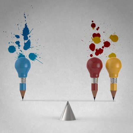 false balance of pencil lightbulb and splash colors background as vintage style concept photo