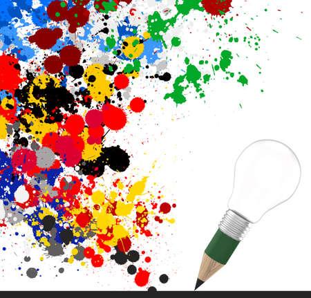 marca libros: empresa de diseño creativo como lápiz 3d bombilla y los colores de fondo de bienvenida