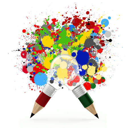 color consultant: creative design business as pencil lightbulb 3d and splash colors background