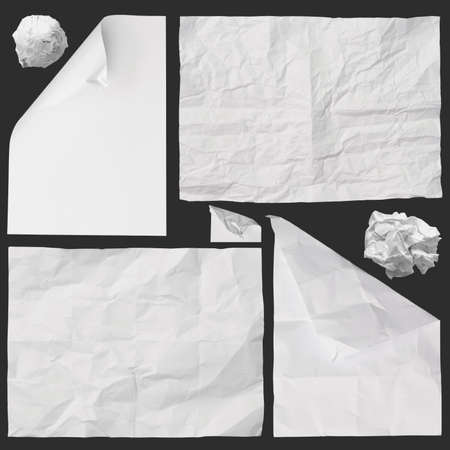 set of white crumpled paper background texture on dark Stock Photo - 22006895