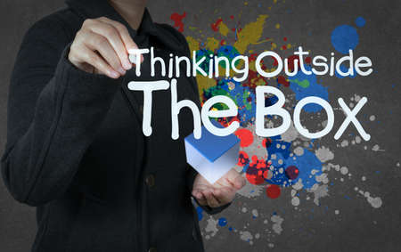 blue box: thinking outside the box and splash colors as concept