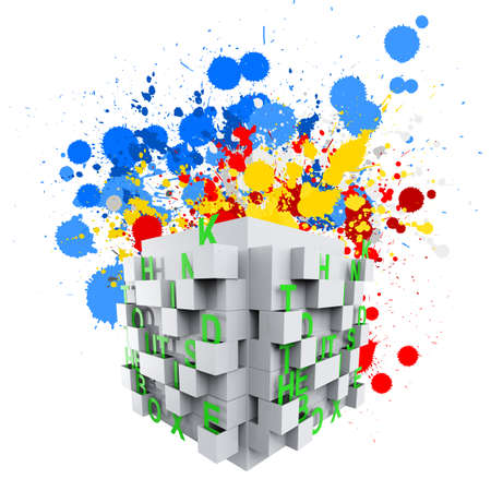 think out of the box:  thinking outside the box and splash colors as concept