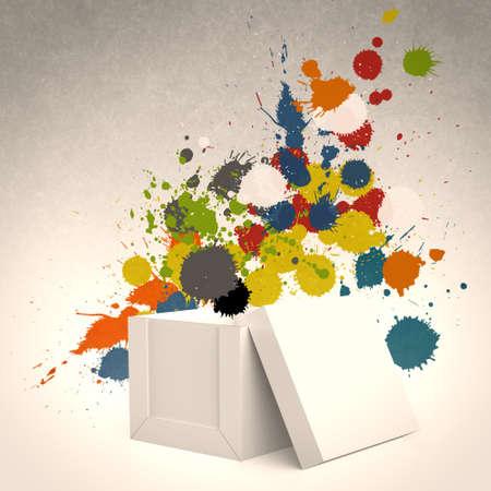 Pensar fora da caixa e respingo cores como conceito