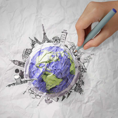 crumpled paper and traveling around the world as concept Stock Photo - 22006905