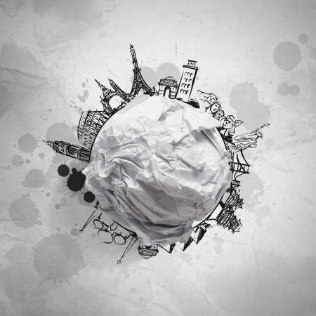 crumpled paper and traveling around the world as concept Stock Photo - 22006614