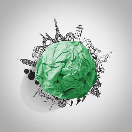 green crumpled paper and traveling around the world as concept Stock Photo - 22007979