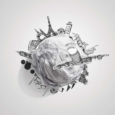 crumpled paper and traveling around the world as concept Stock Photo - 22006906