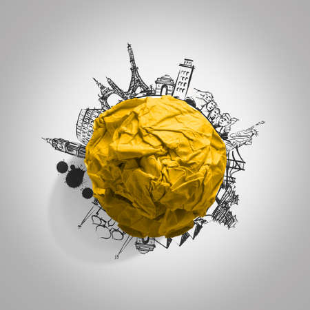 yellow crumpled paper and traveling around the world as concept Stock Photo - 22007976