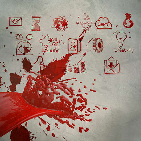 3D paint red color splash and business strategy background as vintage style concept photo