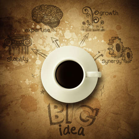 the big idea diagram cup of coffee vintage paper background and  wrinkled style photo