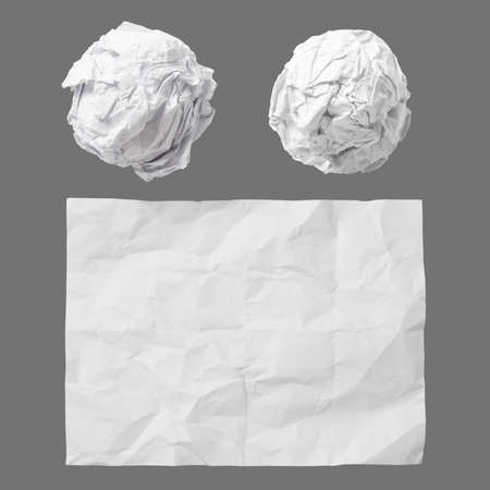 crumpled paper: set of white crumpled paper background texture on dark
