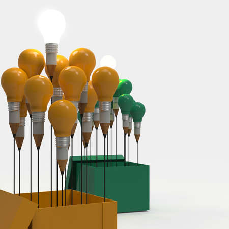 drawing idea pencil and light bulb concept outside the box as creative and leadership concept Stock Photo - 22008018