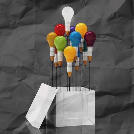 best idea: drawing idea pencil and light bulb concept outside the box as creative on crumpled paper Stock Photo