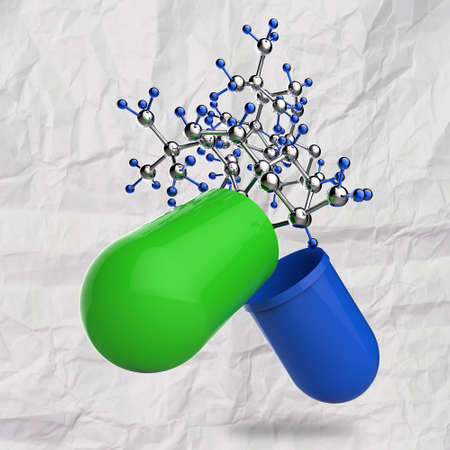 green medical capsule and molecule structure on crumpled paper as concept photo