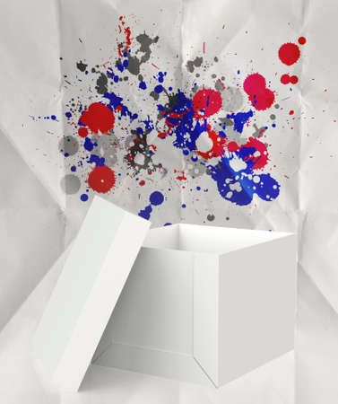 outside the box: thinking outside the box and splash colors crumpled paper as concept