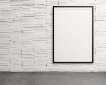 exhibition stand: empty modern style frame on composition wall as concept Stock Photo
