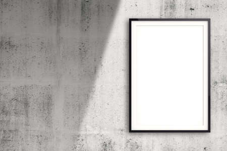 empty modern style frame on composition wall as concept photo