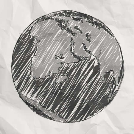 crumpled paper ball: hand drawn the earth on crumpled paper