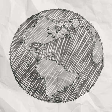 hand drawn the earth on crumpled paper