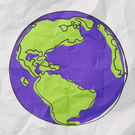 hand drawn the earth on crumpled paper photo