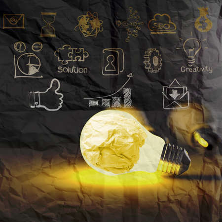 light bulb 3d on business strategy on crumpled paper background as concept Imagens - 22393387