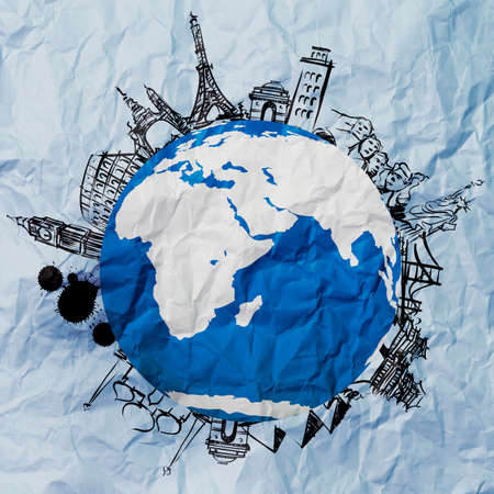 crumpled paper and traveling around the world as vintage style concept Stock Photo - 22393390