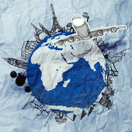 crumpled paper and traveling around the world as vintage style concept Stock Photo - 22393391
