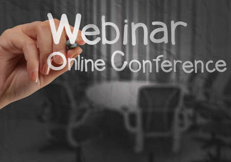 hand writing Webinar with crumpled paper background as concept Stock Photo - 22393405