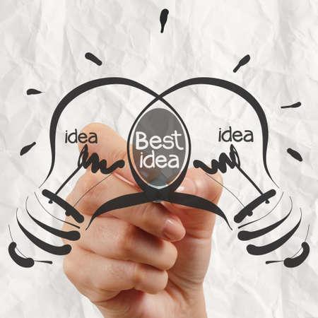 pensamiento creativo: dibujo a mano bombilla mejor idea con el papel arrugado como concepto creativo