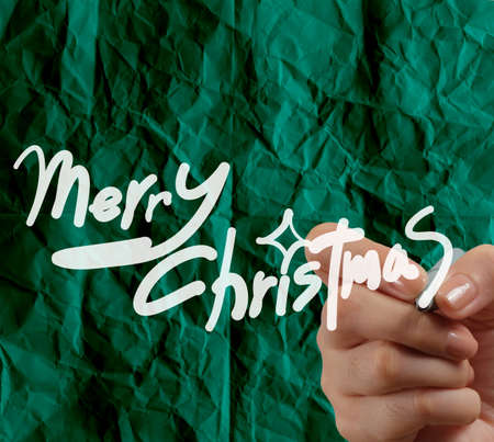 hand draw Christmas Card  on wrinkled paper as vintage style concept photo