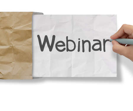 hand writing Webinar with crumpled paper with recycle envelope as concept Stock Photo - 22384188