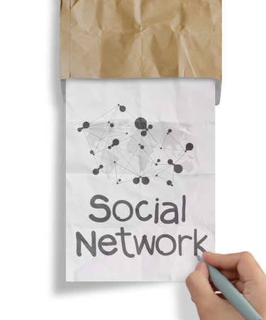 hand draws social network structure with crumpled from recycle envelope as concept photo