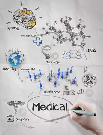 doctor hand draws medical network on crumpled paper as  concept photo